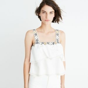 Women's White Embroidered Tier Top